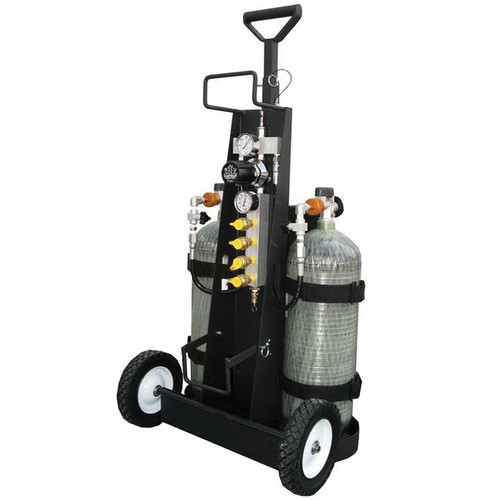 AIR® MP-4H Cylinder Air Cart, Steel, Black, Holds 2 High Pressure Cylinders of 4500 psi