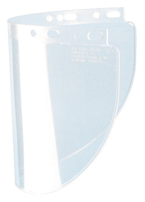 Fibre-Metal® 4178CLBP Wide Vision Faceshield Window, 8 in H x 16-1/2 in W x 0.06 in THK, Propionate, Clear, 50/Pack