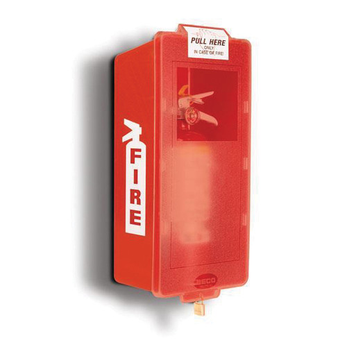 Brooks Equipment® Mark II Jr M2JM Fire Extinguisher Cabinet, 21-3/4 in H x 9-5/8 in W x 6-3/8 in D, Red Tub/Red Cover, for Indoor