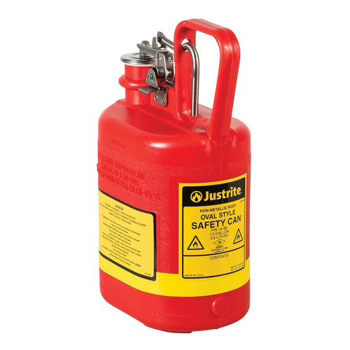 Justrite® 14160 Type I Non-Metallic Safety Can, 1 gal Capacity, 12-3/4 in H x 4-5/8 in W, Polyethylene, Red