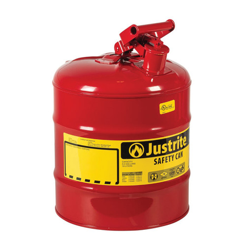 Justrite® 7150100 Type I Safety Can, 5 gal Capacity, 16-7/8 in H x 1-3/4 in W, Steel, Red