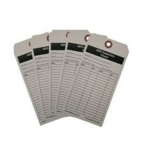 Manual inspection tags for monthly AED checks.