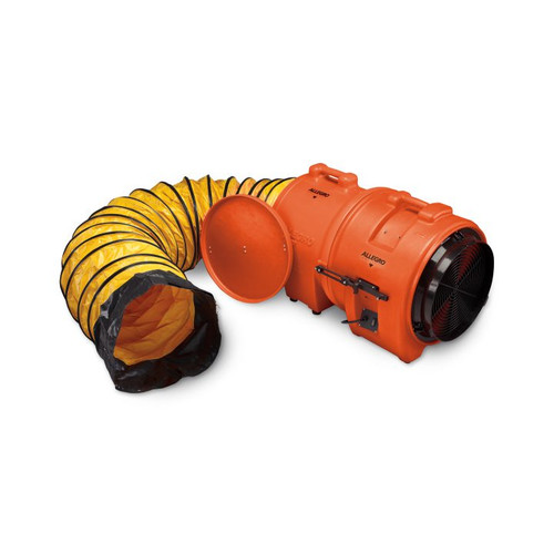 """16"""" Axial Ac Plastic Blower W Canister, 15' Ducting 66 Lbs"""