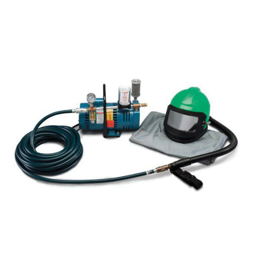 Allegro® Nova 2000™ 9285-01 Low Pressure One Worker Blasting Helmet System, Vixon/Rectus, W/3/4 hp Pump, Nova Helmet, Breathing Tube, 50 ft Hose