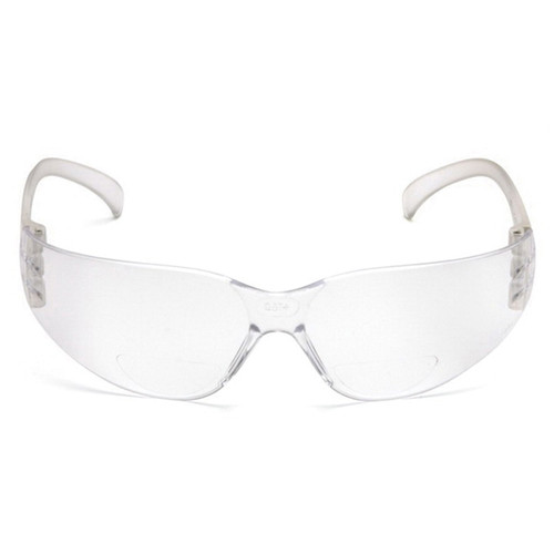 Pyramex® Intruder™ S4110R15 Scratch-Resistant Lightweight Reader Glasses, Universal, +1.5 Diopter, Clear Frame, Clear Lens