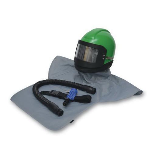 Allegro® Nova 20-00 Supplied Air Blasting Helmet, Universal, Polyethylene, Green, W/Nylon Cape, Breathing Tube, Cooler