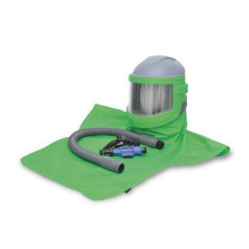 Allegro® Nova 3® NV30-00 Supplied Air Blasting Helmet, PVC Downtube, W/Nylon Cape, Breathing Tube, Cooler