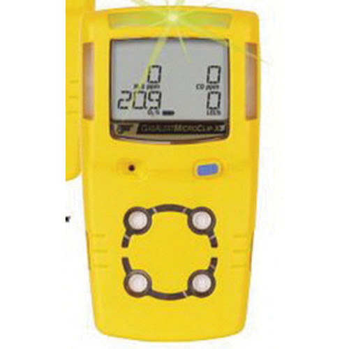 BW Technologies MicroClip X3 Multi-Gas Detector, 0 to 100%/0 to 5% Combustible Gas, 0 to 30% O2, 0 to 100 ppm H2S, 0 to 500 ppm CO