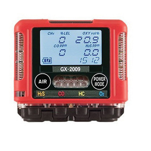 RKI GX-2009 72-0314RKC Confined Space 4-Gas Monitor, 0 to 100% CH4, 0 to 40% O2, 0 to 100 ppm H2S, 0 to 500 ppm CO