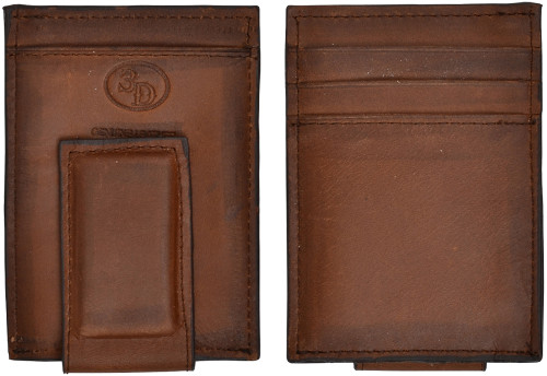 3D Mens Magnetic Money Clip Wallet - Brown Distressed Leather