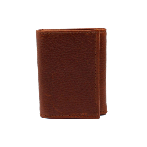 3D Tri Fold Wallet - Dark Brown Pebble Grain Leather