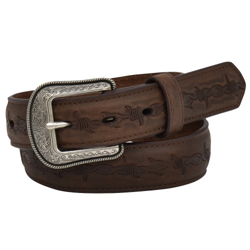 """Kid's 1 1/4"""" Crazy Correct Brown Leather Belt with Barbwire"""