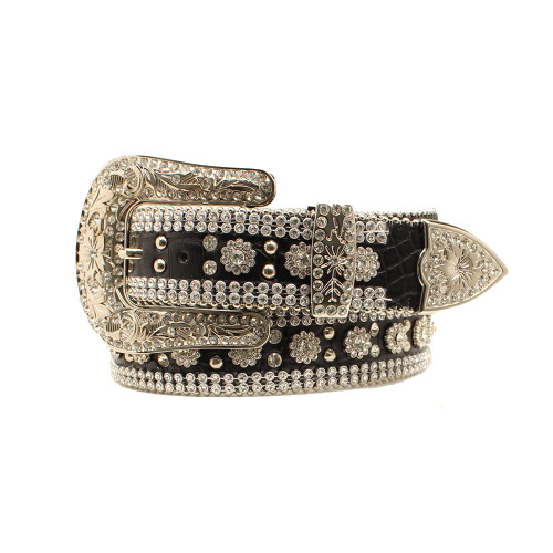 """Angel Ranch 1 1/2"""" Black Gator Print Leather Belt with Studs & Crystals"""