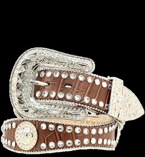Blazin Roxx Women's Croc Scalloped Belt w/Conchos - Brown