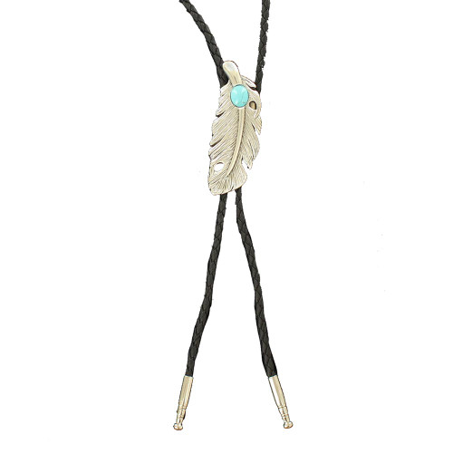Double S Silver Feather Bolo with Turquoise Stone