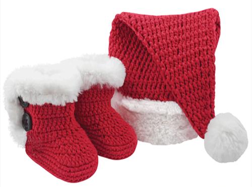 Infant Santa Hat & Booties Set
