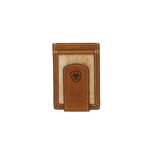 Ariat Card Case / Money Clip Brown with Calf Hair