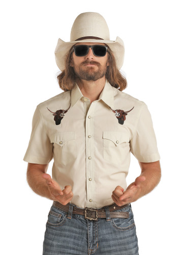 Dale Brisby Men's Short Sleeve Snap Solid with Bull Embroidered Dale Logo
