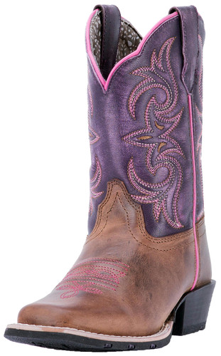 Dan Post Child's Square Toe Majesty Cowgirl Boot - Brown/Purple