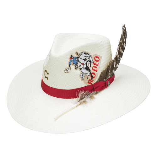 """Charlie 1 Horse Rodeo Road Straw Wanted Collection, 3 3/4"""" Brim, 4"""" Crown - Natural"""
