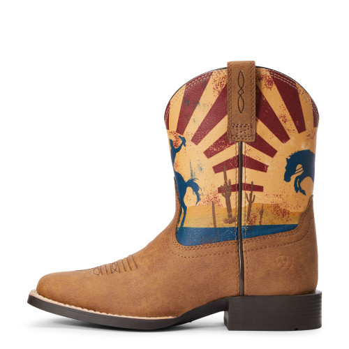 "Ariat Youth 7"" Dinero Wide Square Toe Tan/Sunset Scene - 10034063"