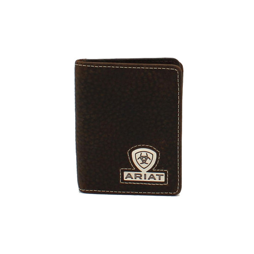 Men's Bifold Leather Wallet w Ariat Logo and Shield -A35469282