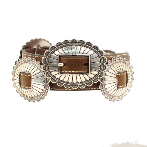 Leather Belt w Large Oval FLoral Silver Conchos -N320000002