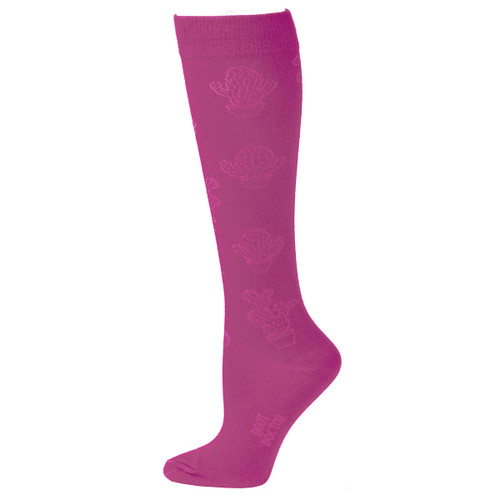 Ladies OTC Sock w Cactus Pattern -0418030