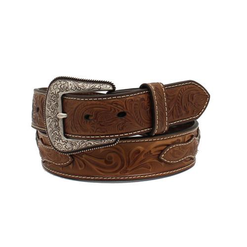 Leather Belt w Round Copper Conchos w Silver Cross -A1037302