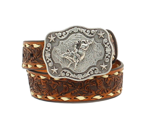 Boy's Belt w Floral Embossing & Laced Edge -N4436208
