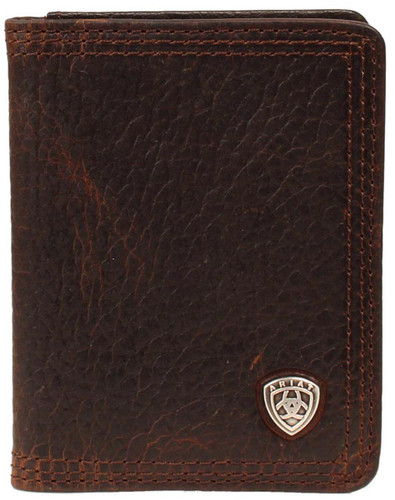 Ariat Men's Bi-fold Flip Case Wallet - Brown Rowdy