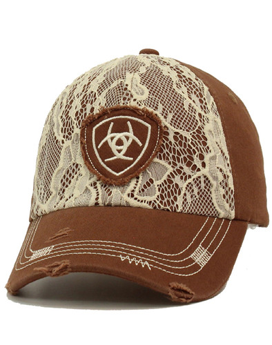 Ariat Women's Distressed Cap With Lace And Embroidered Logo