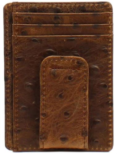 Nocona Men's Vintage Ostrich Money Clip Wallet-Brown