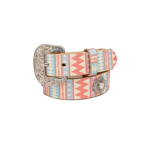 Girls Belt w Ivory, Pink & Turq. Glitter Design, Conchos -D130000497