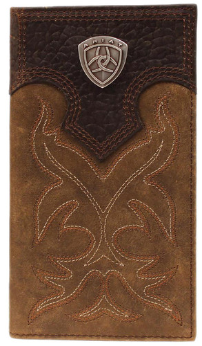 Ariat Men's Distressed Brown Boot Stitch & Shield Leather Wallet - Brown