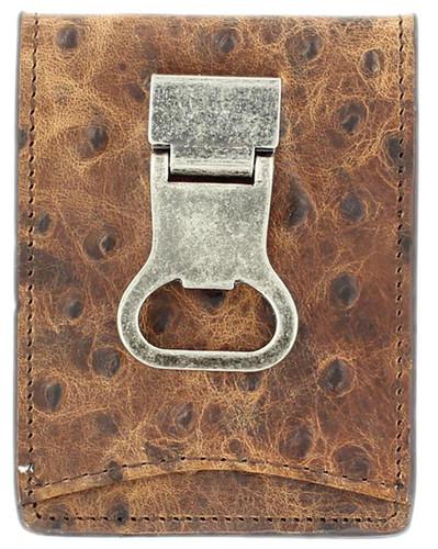 Nocona Men's Ostrich Bi-fold Wallet w/ Money Clip & Bottle Opener -Brown