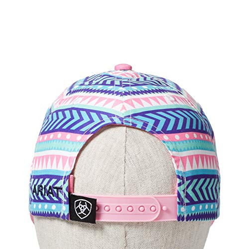 Youth Ariat Snap Back Pink/Multi Design Shield Patch Hat