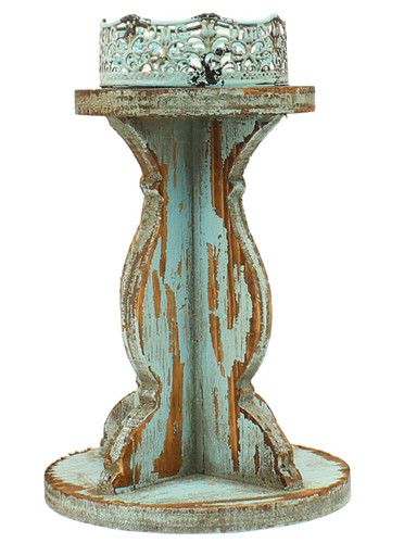 Distressed Candle Holder - Turquoise