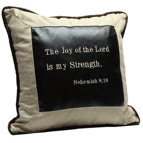 Nehemiah 8:10 Faux Leather Pillow - White/Black