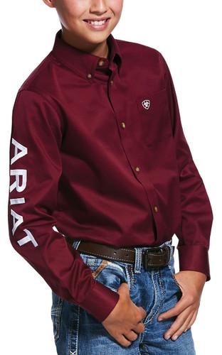 Ariat Boy's Team Logo Twill Shirt - Burgundy