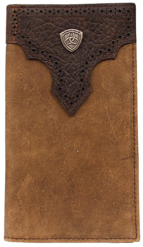 Ariat Men's Perforated Overlay Rodeo Wallet w/ Ariat Shield - Brown