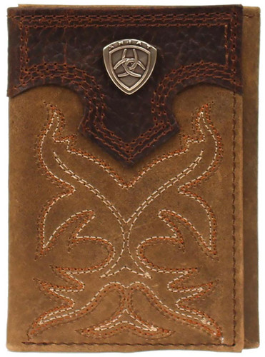 Ariat Boot Stitch Tri-Fold Wallet w/ Shield - Distressed Brown
