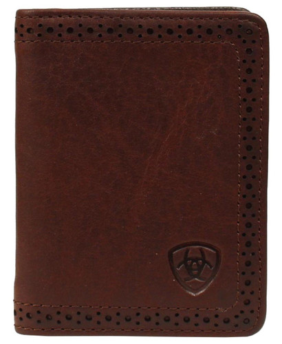 Ariat Men's Perforated Edge Bi-fold Flip Case Wallet w/ Ariat Shield - Copper