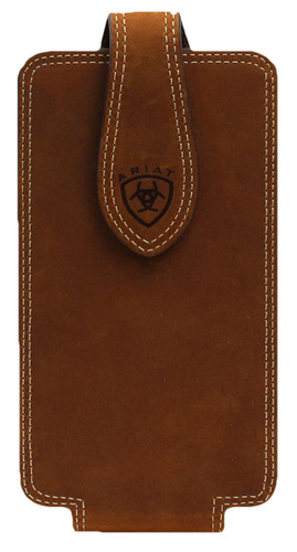 Ariat Men's Double Stitched Edge Large Cell Phone Case - Medium Brown