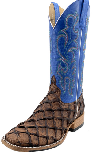 Horse Power by Anderson Bean Men's Pirarucu Cowboy Boots w/ Blue Top - Brown