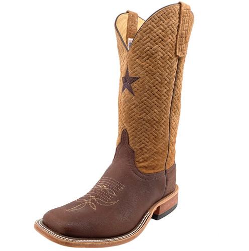 Anderson Bean Men's Buffalo Cowboy Boots w/ Tan Basket Weave Top - Brown