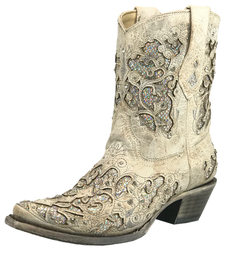 Corral Women's Glitter Inlay & Crystals Short Cowgirl Boot - White
