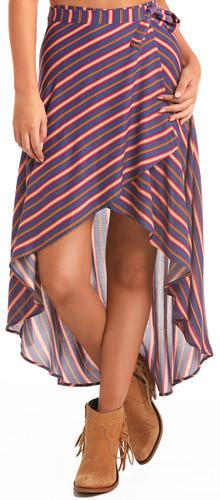 Women'sHi-Lo Wrap Skirt w/ All Over Stripe Print - Multi