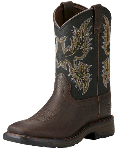 Ariat Youth Wide Square Toe Workhog Work Boot - Brown/Black