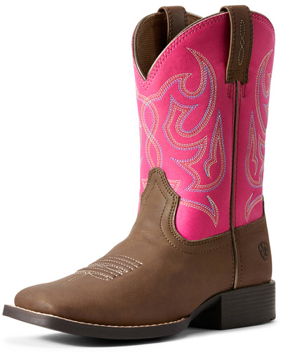 Ariat Youth Champ Brahma Cowgirl Boots - Brown